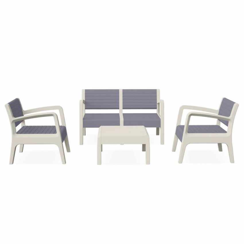 55258 - Salotto giardino resina bar tavolino 4 posti schienale rialzato MIAMI - marrone