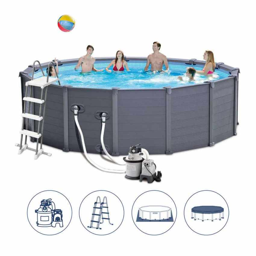 Piscina fuori terra rotonda 478x124 intex 26382 graphite for Prezzi piscine intex