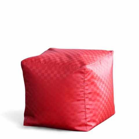 INTHE200 - Pouf piccolo quadrato mini puff 45x45x45 cubo poggiapiedi QUBE - strisce