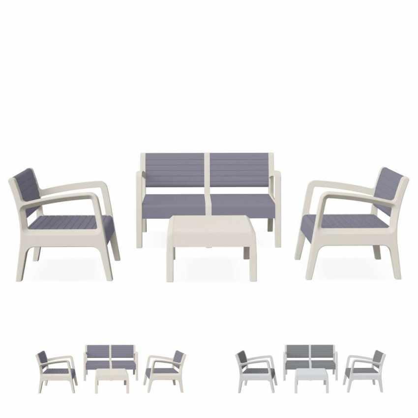 55258 - Salotto giardino resina bar tavolino 4 posti schienale rialzato MIAMI - verde