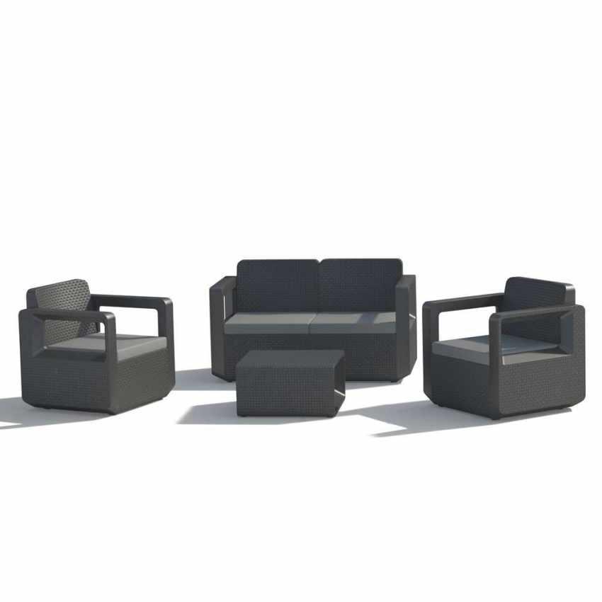 55197 - Salotto da giardino Polyrattan schienale rialzato 4 posti  poltrone + divano VENUS - retro