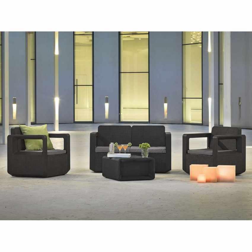55197 - Salotto da giardino Polyrattan schienale rialzato 4 posti  poltrone + divano VENUS - rosso
