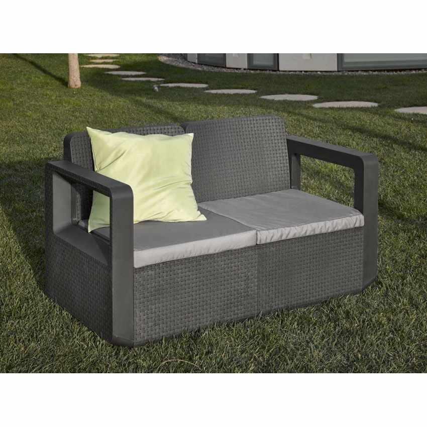 55197 - Salotto da giardino Polyrattan schienale rialzato 4 posti  poltrone + divano VENUS - crema