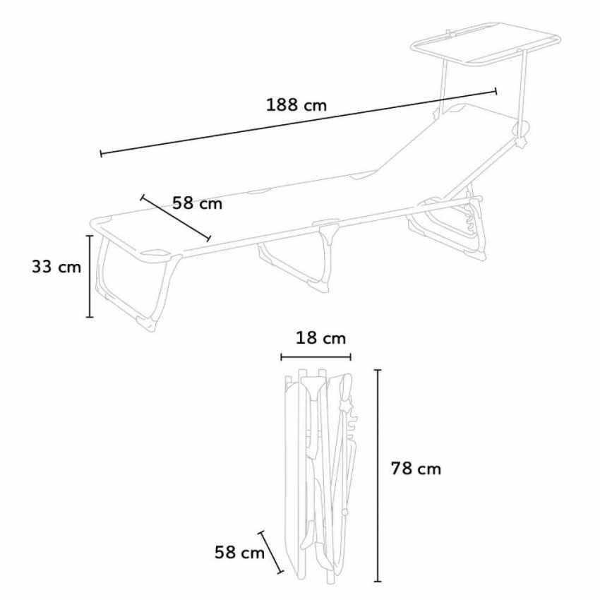 CA800TEX - Lettino mare alluminio pieghevole tettuccio parasole CALIFORNIA - rosa