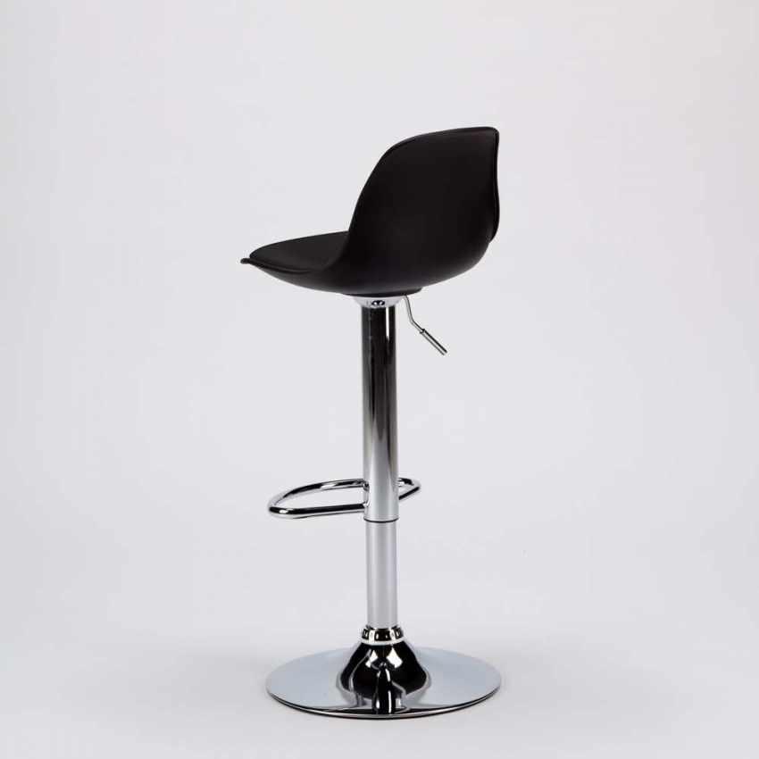 SGA800NEW - Sgabello per Bar e Cucina con Penisola in Similpelle Design NEW ORLEANS - bianco