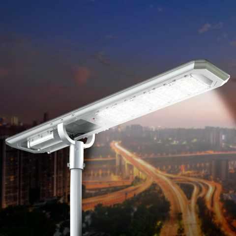 LS5000LED - Lampione LED a Energia Solare 5000 Lumen Pannello Fotovoltaico Integrato per Giardino Parcheggio Strada GOLD