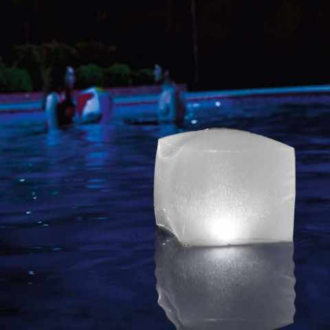28694 - Cubo luminoso luce led Intex 28694 galleggiante per giardino e piscina - giallo