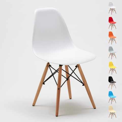 SD638PPAZ28PZ - Stock 28 sedie DSW WOODEN Design legno polipropilene cucina bar sala d'attesa e ufficio - basso prezzo