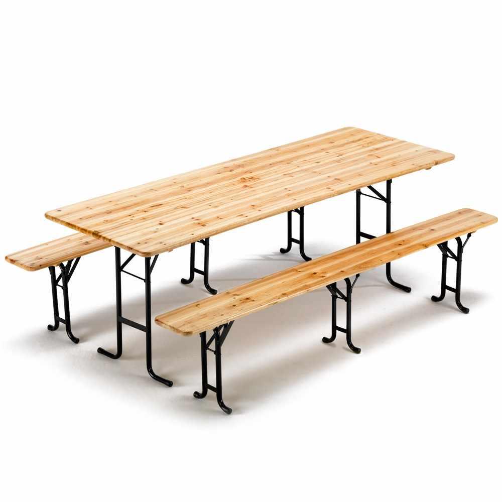 Set birreria tavolo in legno e panche 3 gambe 220x80 ii for Set birreria offerta