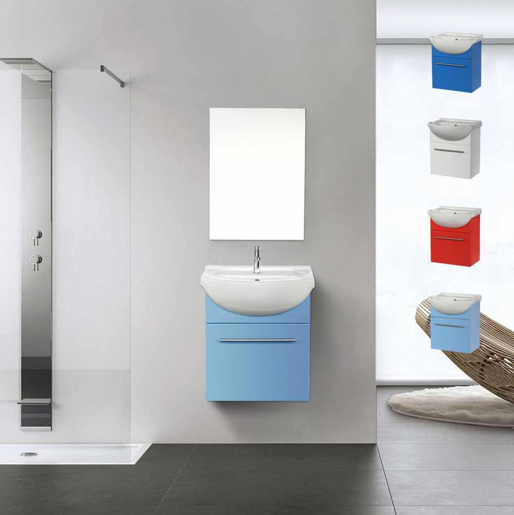 Mobile Bagno Per Asciugamani mobile bagno con specchio sospeso con lavabo in ceramica andromeda