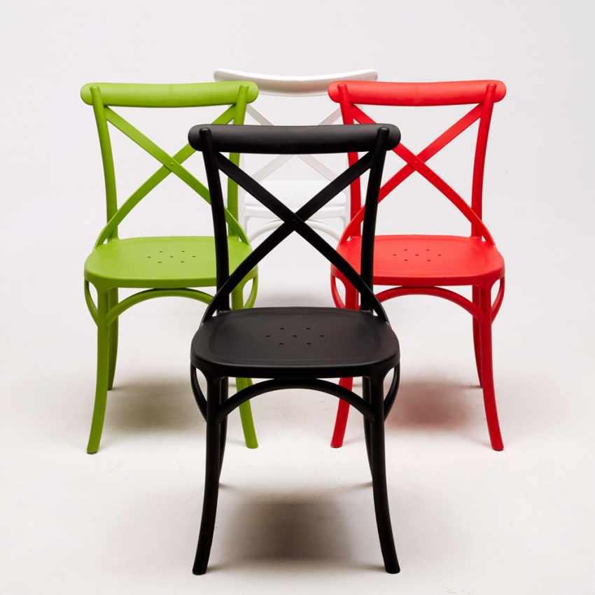 Sedia da cucina bar in polipropilene stile crossback vintage for Sedia design ebay
