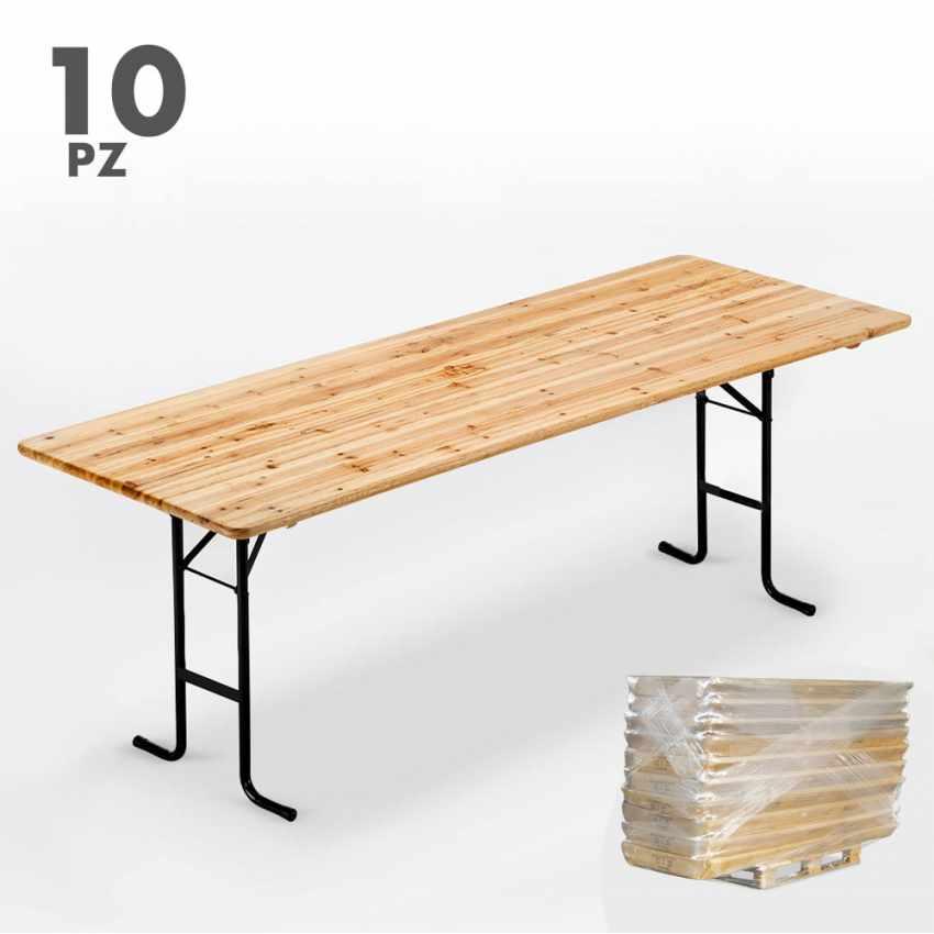 Set 10 Tavoli In Legno Per Set Birreria 220x80 Feste Giardino