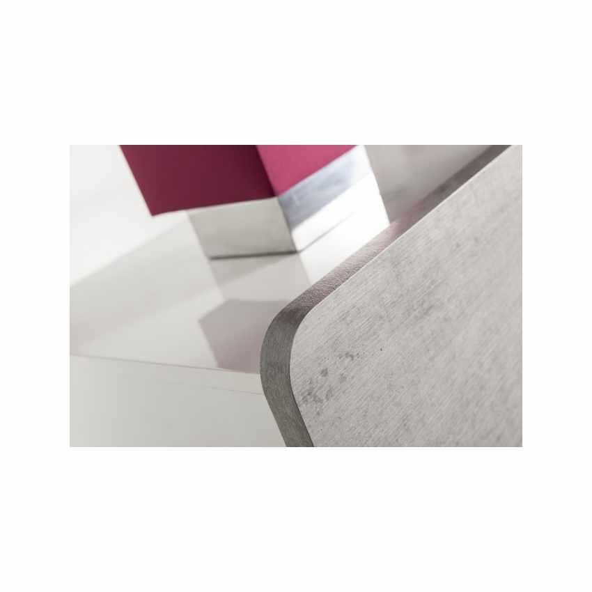 Comodino Comò Bianco Lucido 3 Cassetti Effetto Cemento Design Moderno - dettaglio