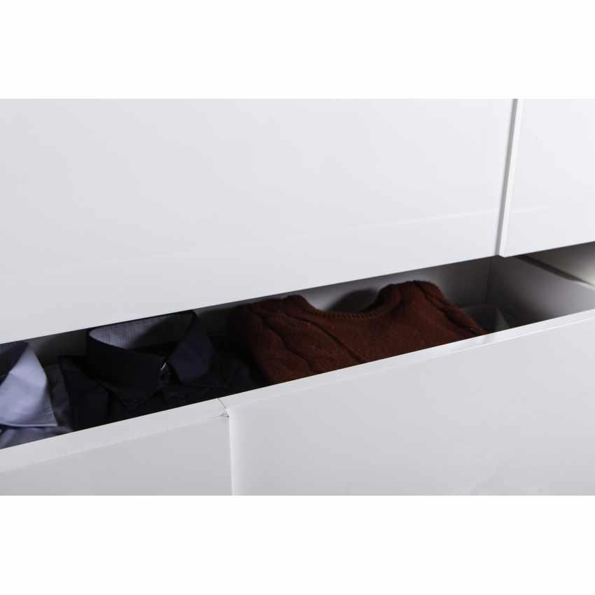 Comodino Comò Bianco Lucido 3 Cassetti Effetto Cemento Design Moderno - migliore