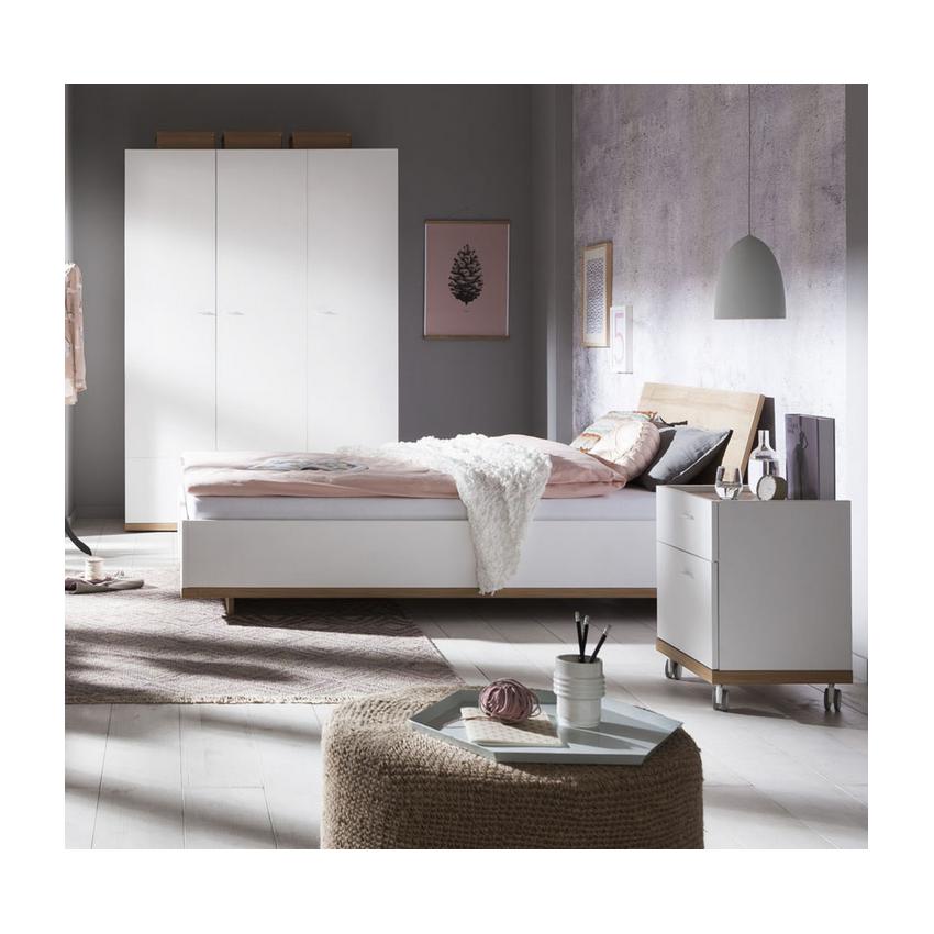 Letto 1 Piazza E Mezza Bianco E Rovere 120x200cm Design LUDO
