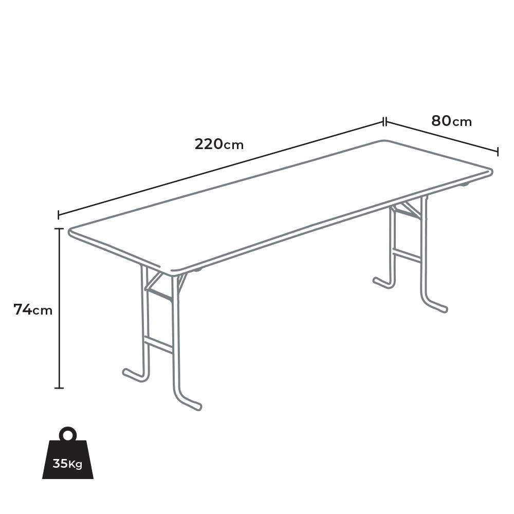Tavolo Cucina Misure Standard tavolo in legno con gambe in ferro 220x80 per giardino feste