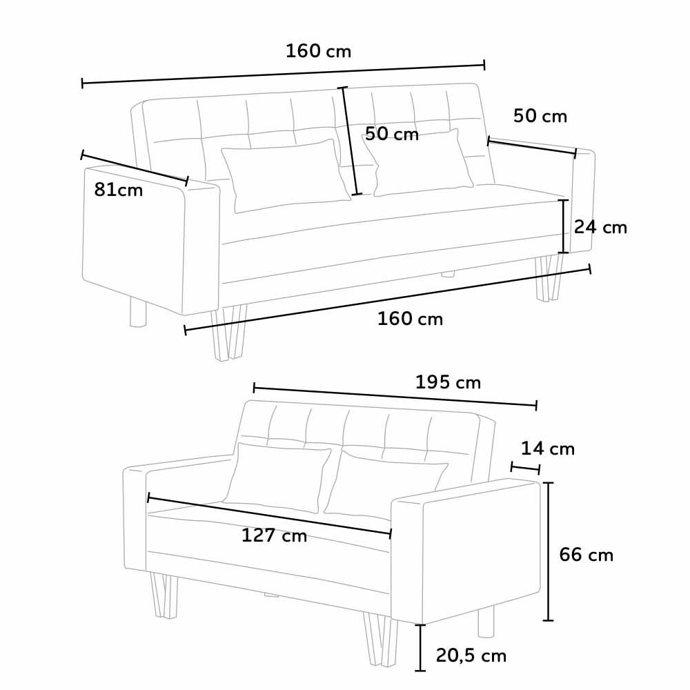 Set 2 divani letto 3+2 posti in similpelle per soggiorno e salotto ...