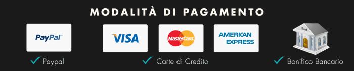 Modalità di Pagamento ProduceShop: Bonifico anticipato, PayPal, Carta di credito, Ricarica Postepay.