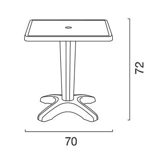 Tavolino Grand Soleil ZAVOR quadrato polipropilene bar esterno 70x70