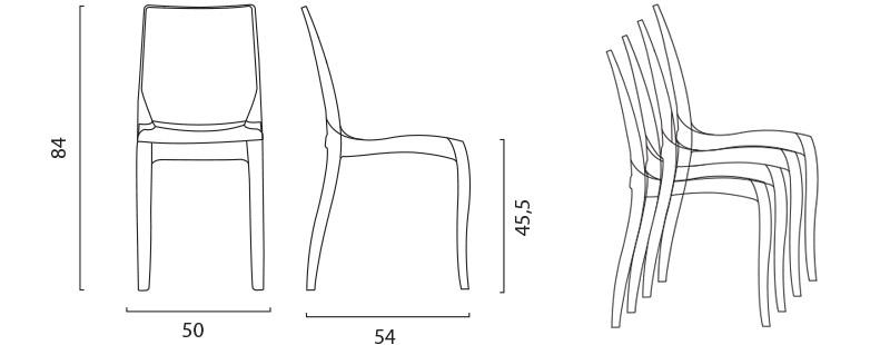 Sedie trasparenti antracite in policarbonato per cucina soggiorno elegante design simile Kartell