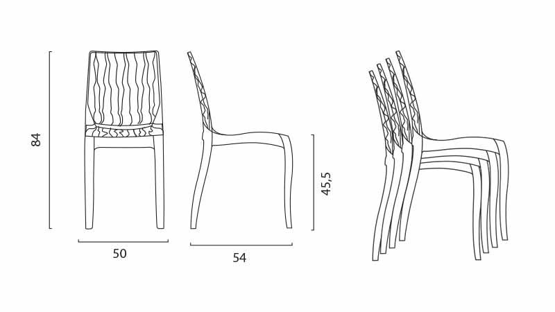sillas de transparente cómoda para la cocina Kartell a modo de barra hecha en italia