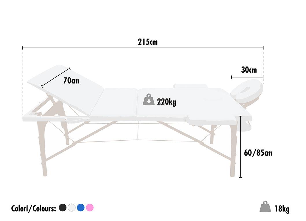 Lettino da massaggio legno portatile pieghevole estetista 3 zone LIGHT