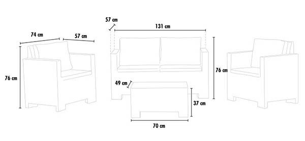 Salotto giardino rattan sintetico set Polyrattan tavolino cuscini bar 4 posti ELBA