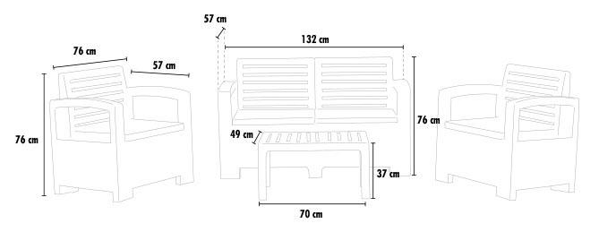 Conjunto de jardin salon resina muebles de exterior terraza respaldo alto 4 plazas JESOLO