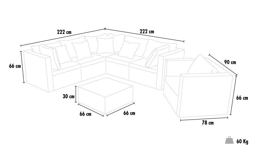 Conjunto de jardin salon Polyrattan trenzado muebles de exterior terraza ORLANDO blanco