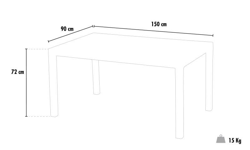 Mesa en Poliratán rectangular 150x90