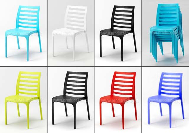 Sedie bar in plastica modello Line - 6 pezzi: