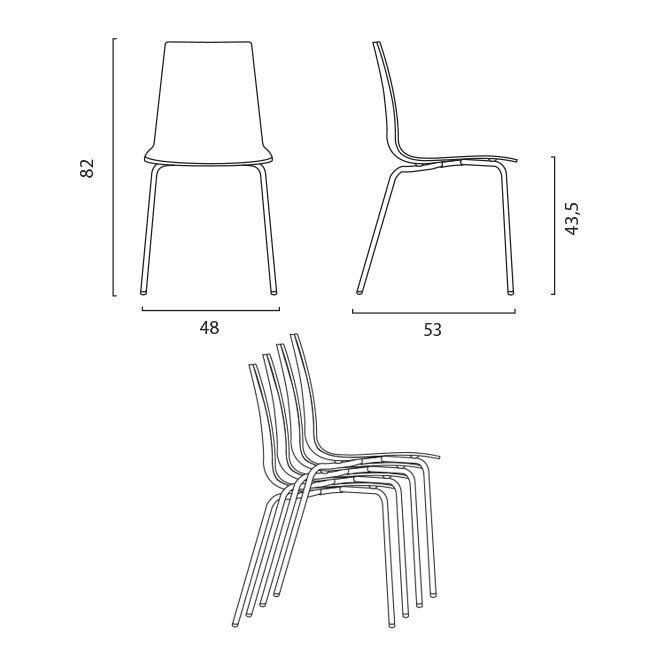 Sedie Nero impilabile per bar ristorante casa Design simile Connubia Calligaris